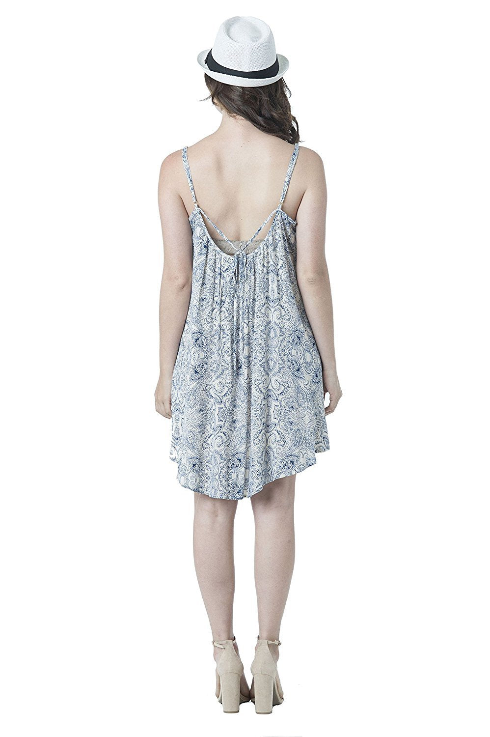 Sleeveless Beaded String Back Cut-Out Printed Woven Dress