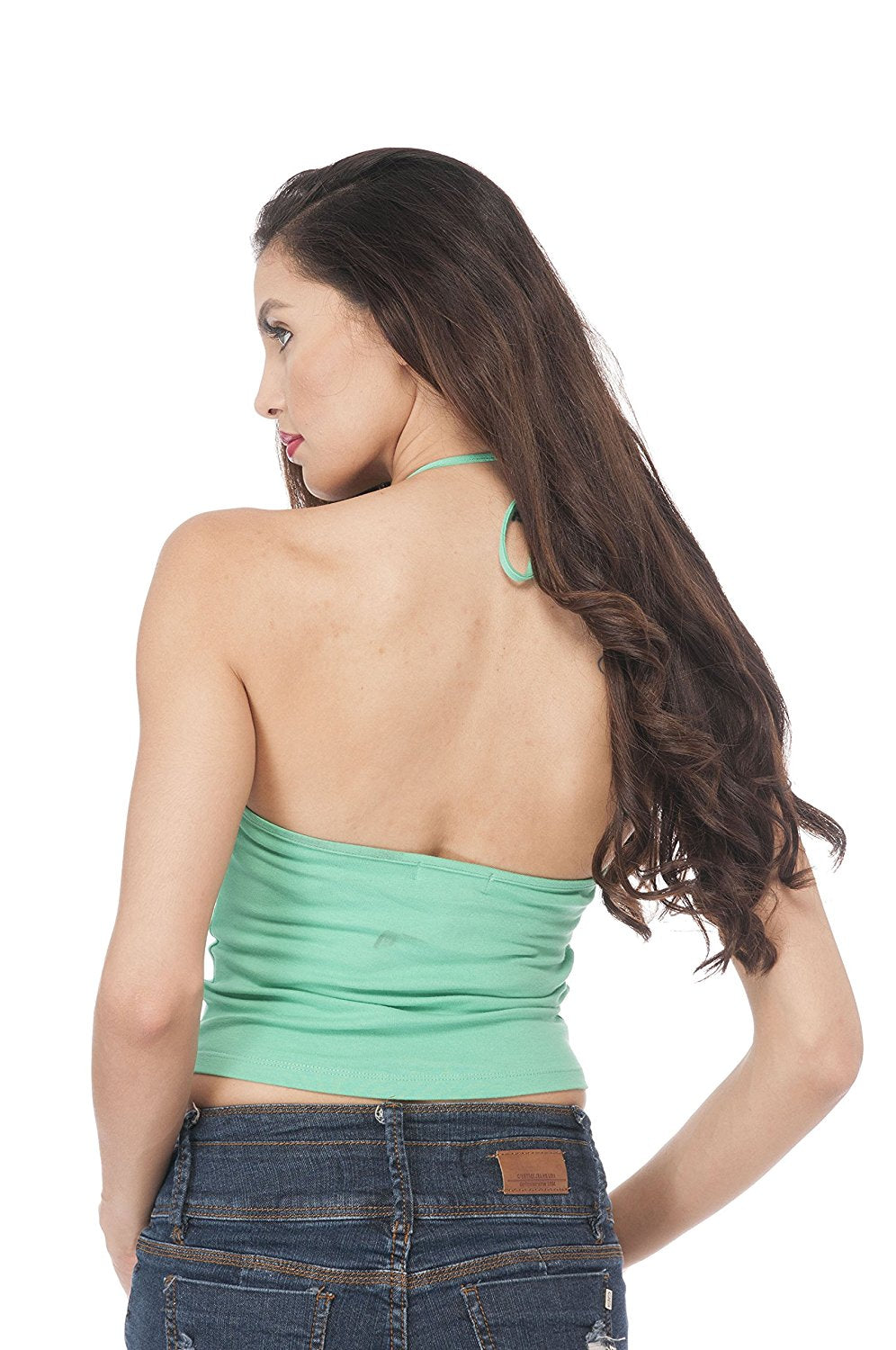 Hollywood Star Fashion High Halter Neck Open Back Crop Top