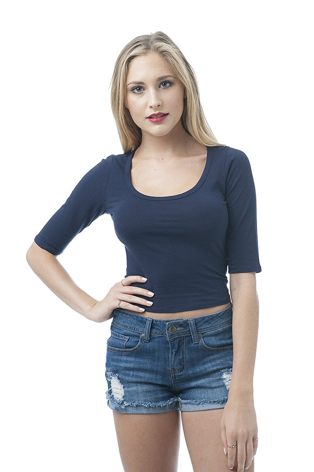 Khanomak Scoop Neck Half Sleeve Crop Top