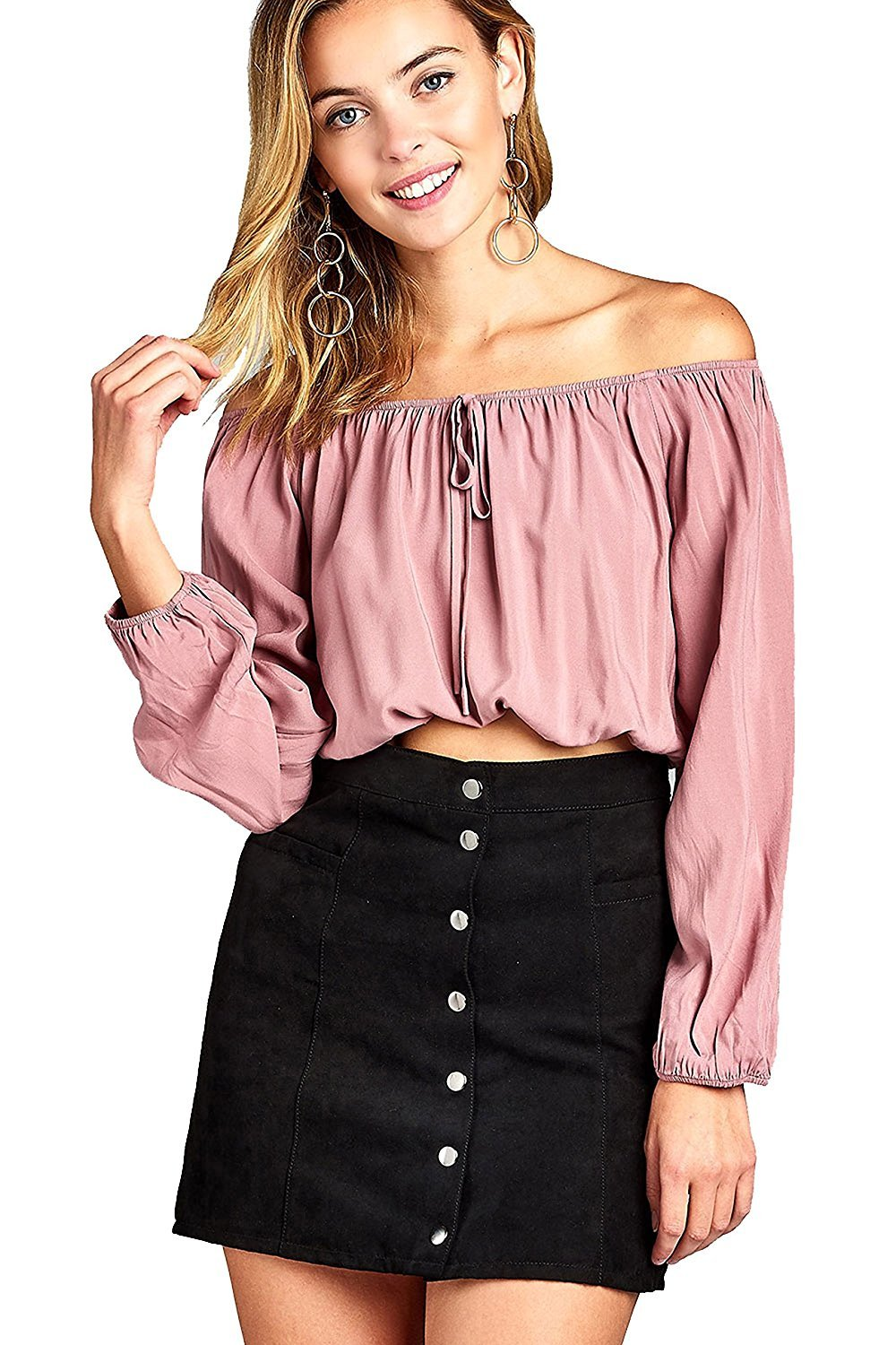 Khanomak Elasticized Off Shoulder Self Tie Neckline Long Sleeve Crop Top