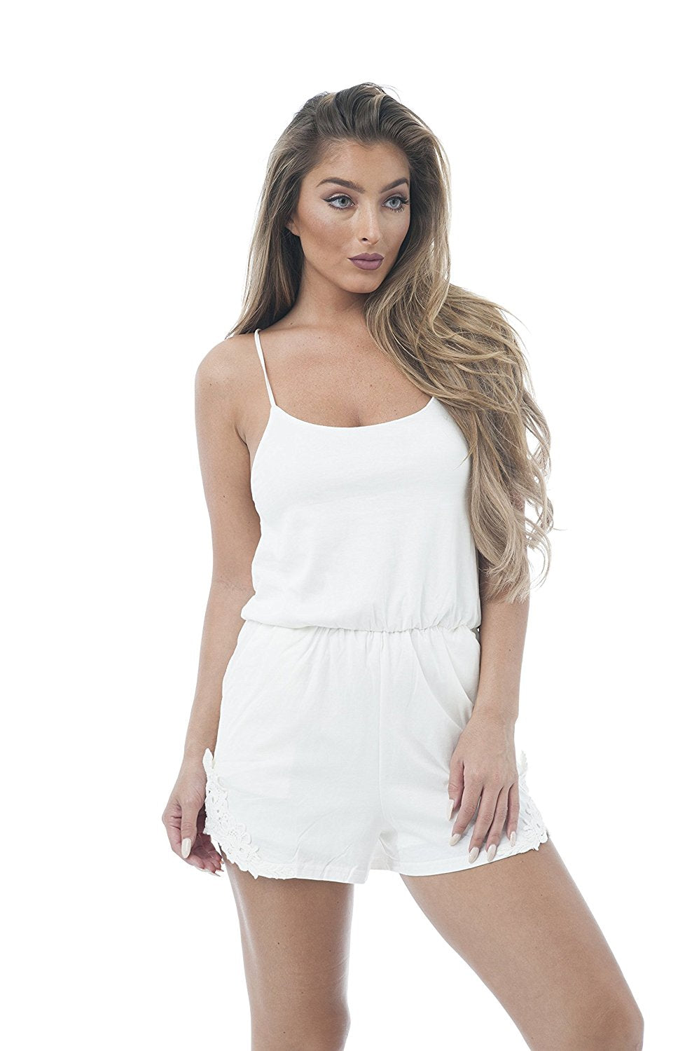 Spaghetti Strap Scoop Neck Crochet Trim Woven Romper