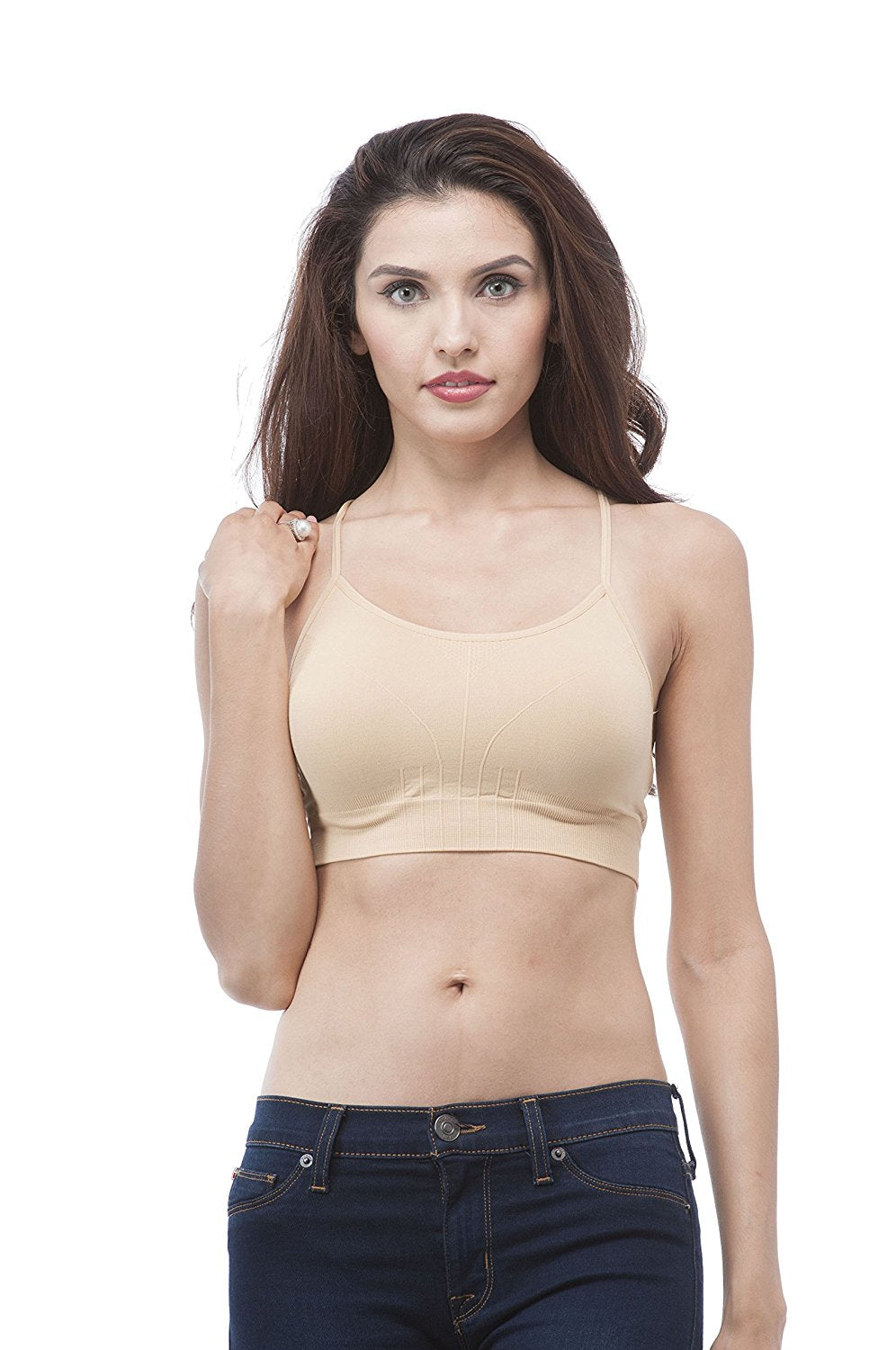 Ladies seamless one size cross over straps bra