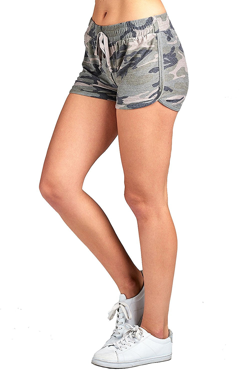 Khanomak Drawstring Waist Detail All Over Camo Print French Terry Dolphin Hem Shorts