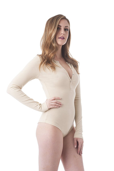 Khanomak Long Sleeve Crewneck Buttons Ribbed Bodysuit