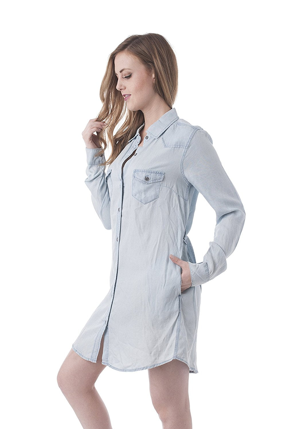 Long sleeve Button down Denim Self Tie Belt Dress