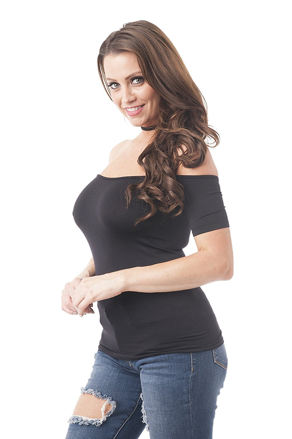 Khanomak Short Sleeve Off The Shoulder Plain One Size Top