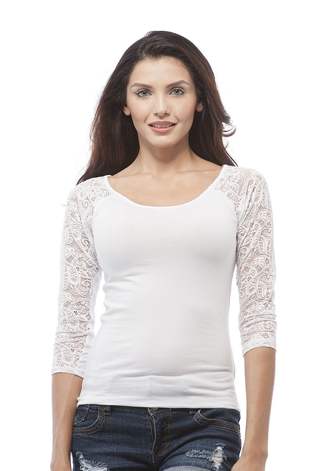 Hollywood Star Fashion 3/4 Sleeve Lace Contrast Scoop Neck Top