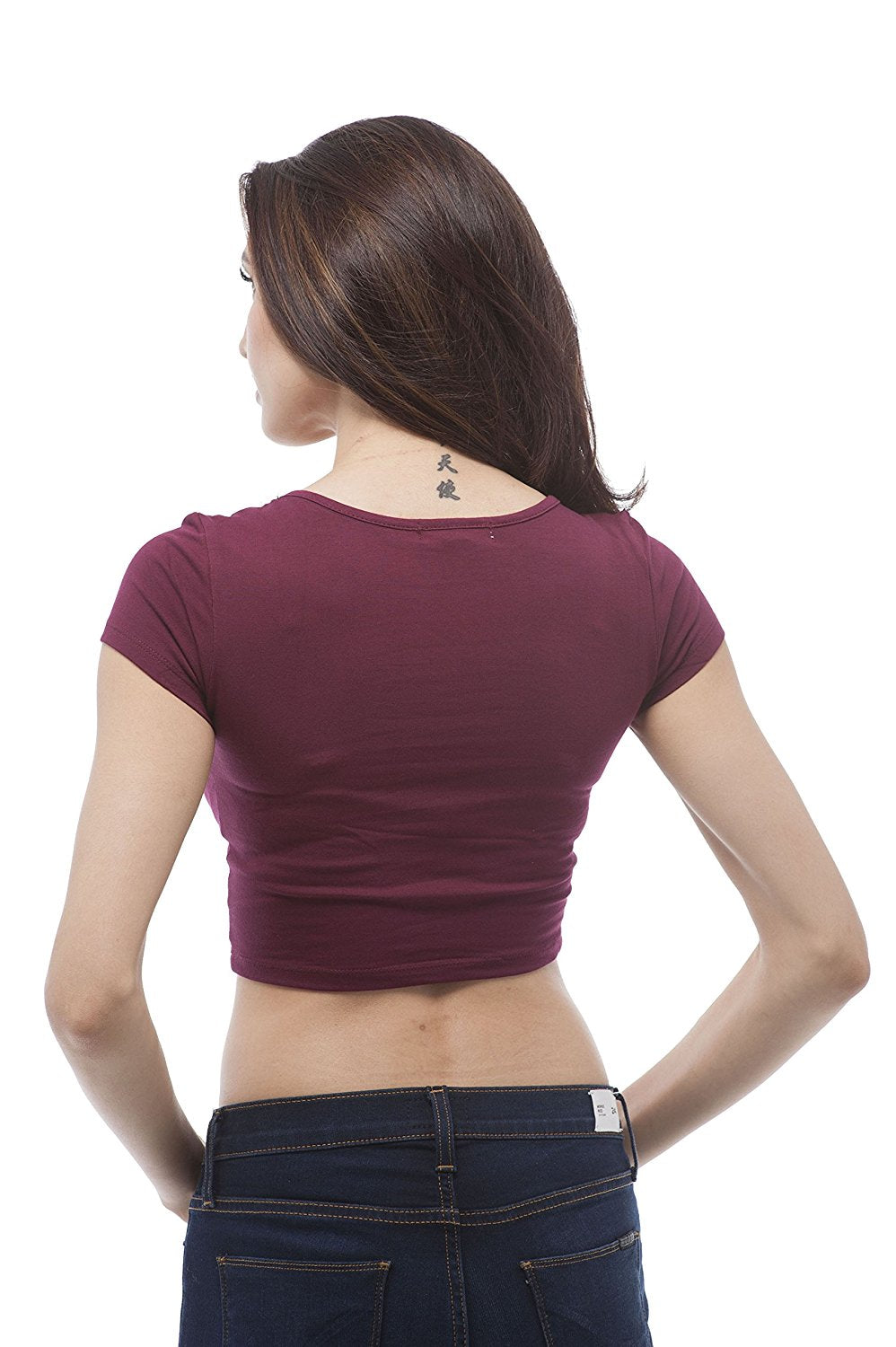 Hollywood Star Fashion Plain Short Sleeve Cotton Scoop Neck Crop Top