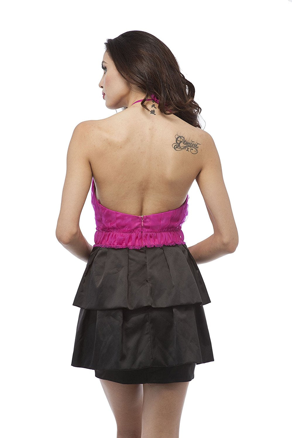 Sexy Unique Hot Pink Black Cocktail Party Dress Cocktail Gown Prom Holiday Bridesmaid Junior Size