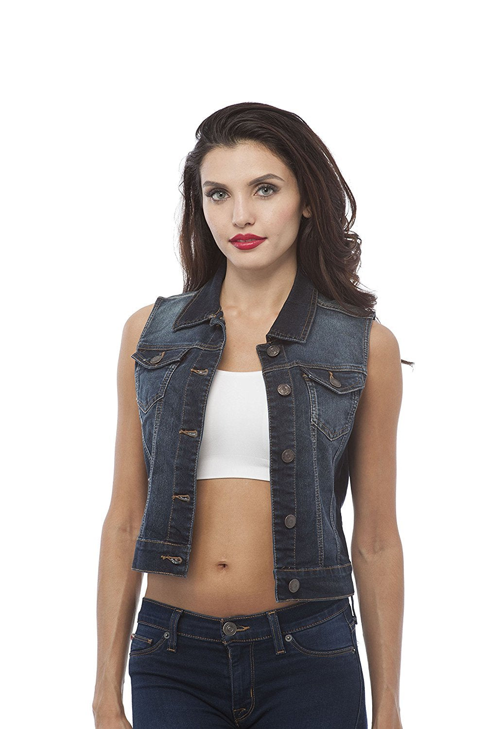 Hollywood Star Fashion Sleeveless Button Up Jean Denim Jacket Vest