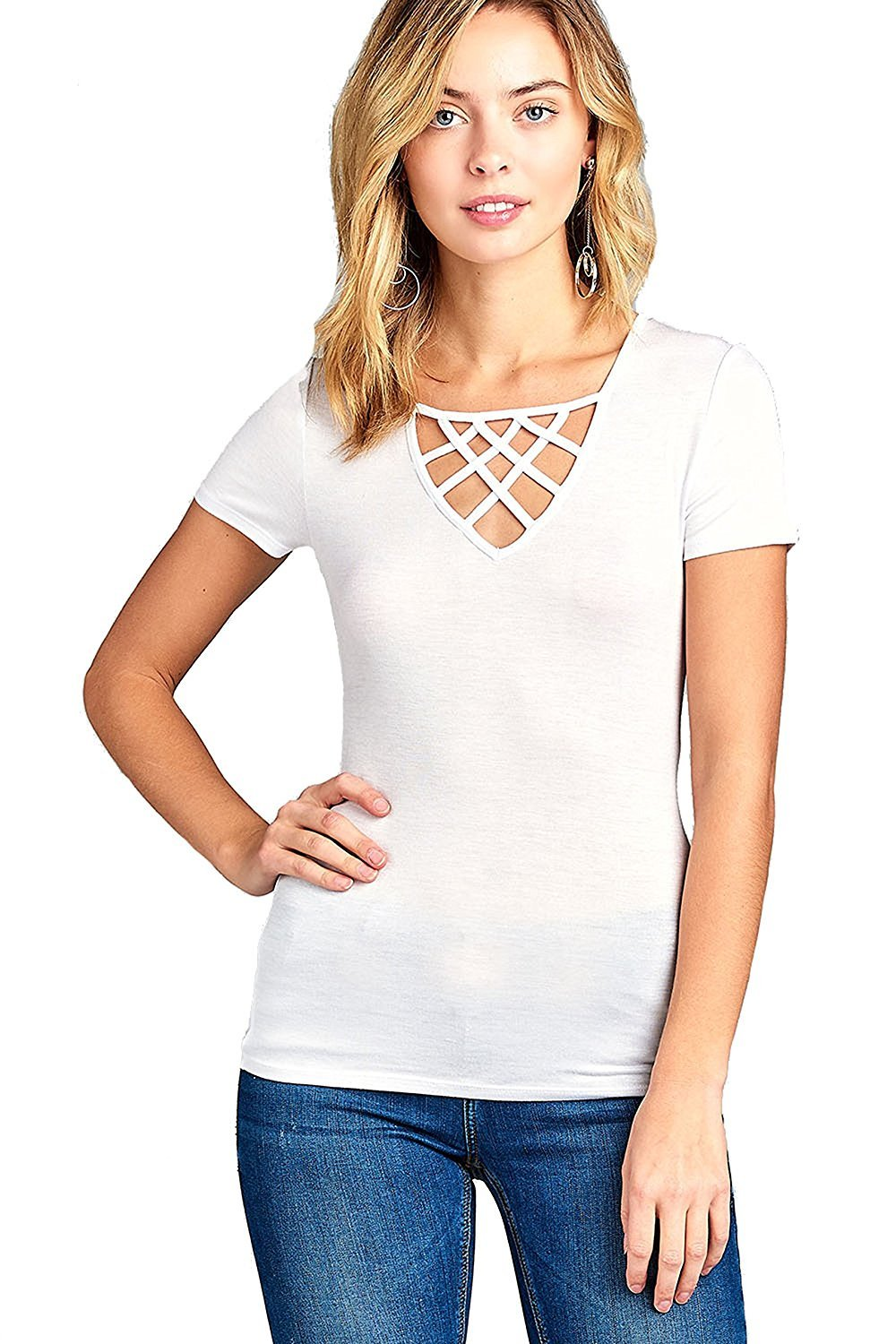 Khanomak Short Sleeve Basic Casual Crisscross Strappy V-Neck Fitted Top