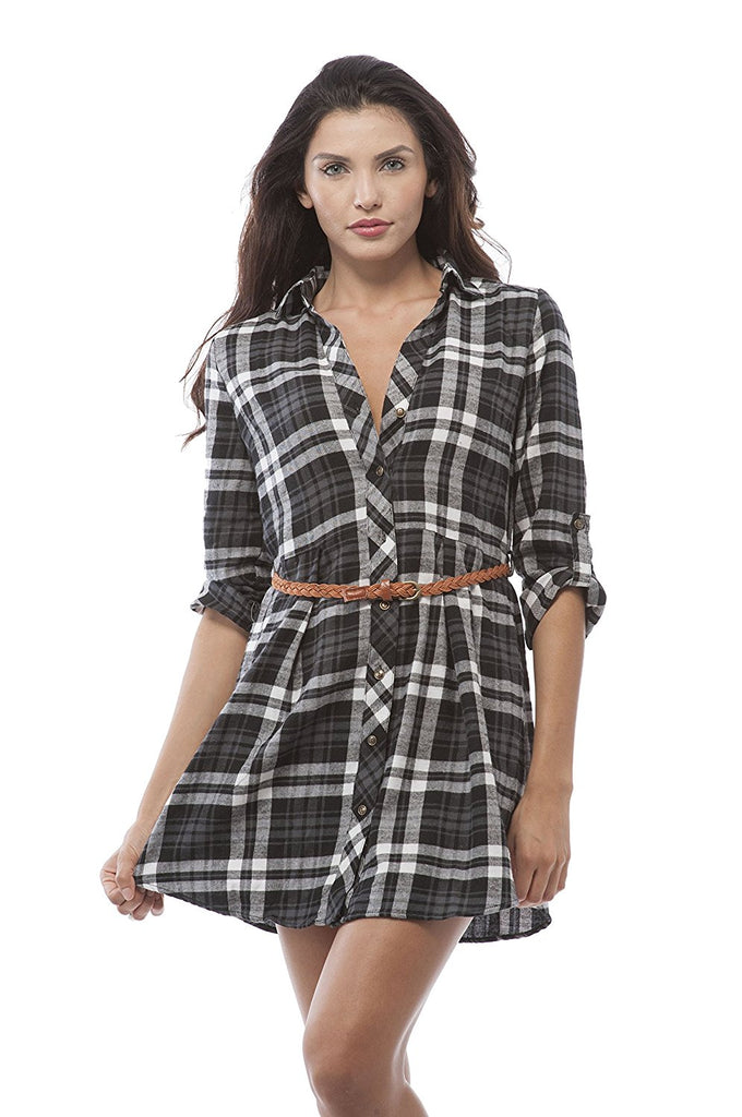 Hollywood Star Fashion 3/4 Roll Up Sleeveplaid Belted Shirt Dress