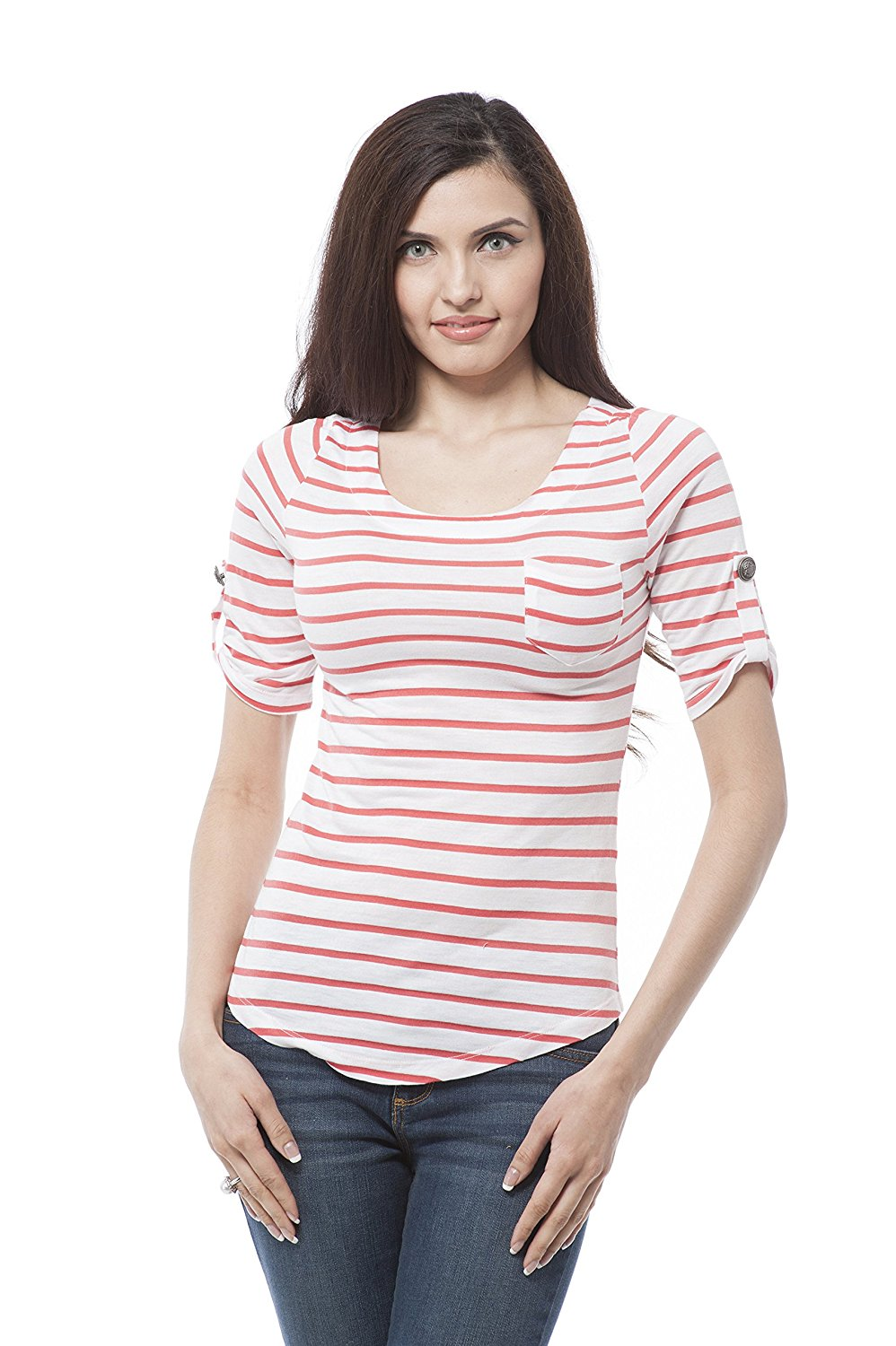 elbow sleeve with button on the side striped top with front pocket