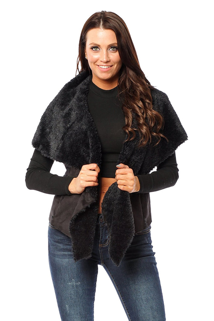 Hollywood Star Fashion Faux Fur Suede Vest Coat