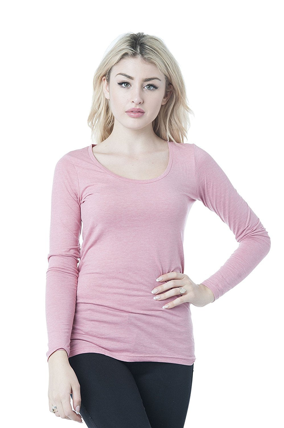 Hollywood Star Fashion Long Sleeve Crew Neck Plain Top