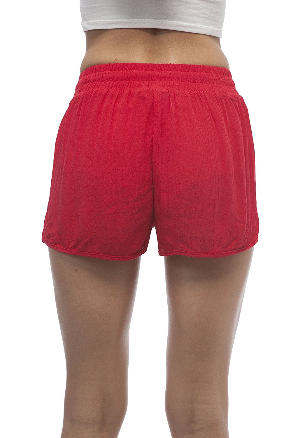 chiffon dolphin crinkled shorts with drawstring waist