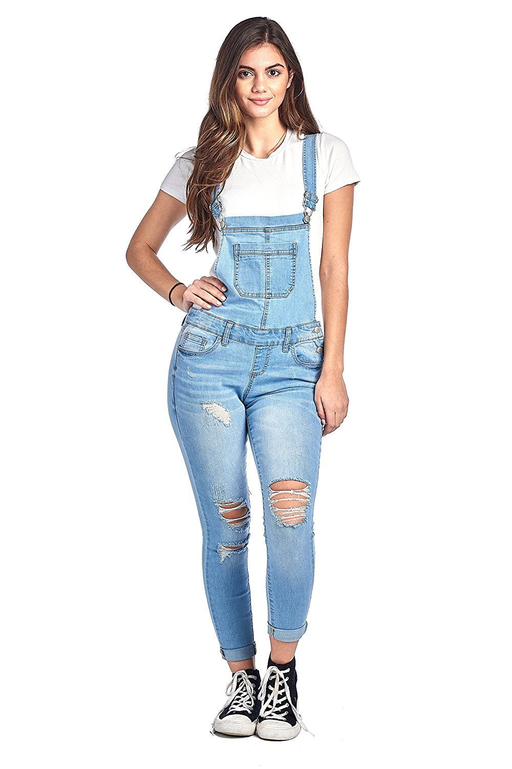 Khanomak Denim Distressed Rolled Cuff Ankle Length Adjustable Straps Skinny Jean Overalls
