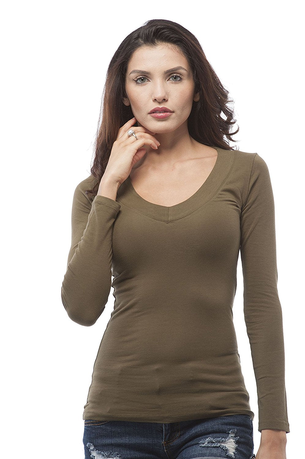 Hollywood Star Fashion Women's Basic Long Sleeve Deep V Neck Shirt Top