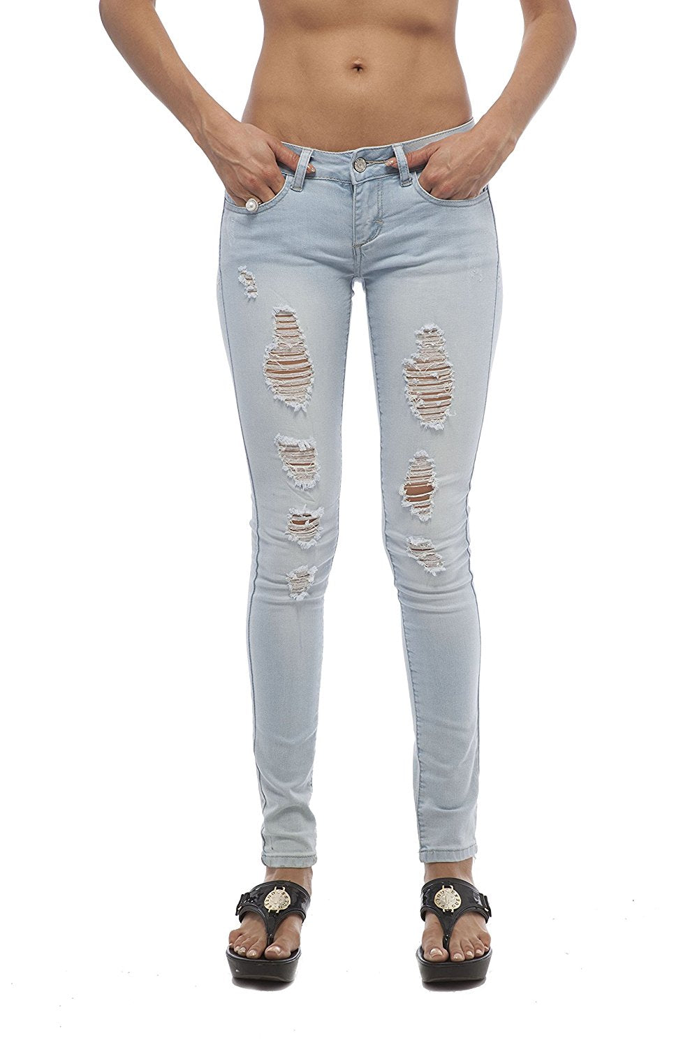 Hollywood Star Fashion Ripped Distressed Skinny Jeans