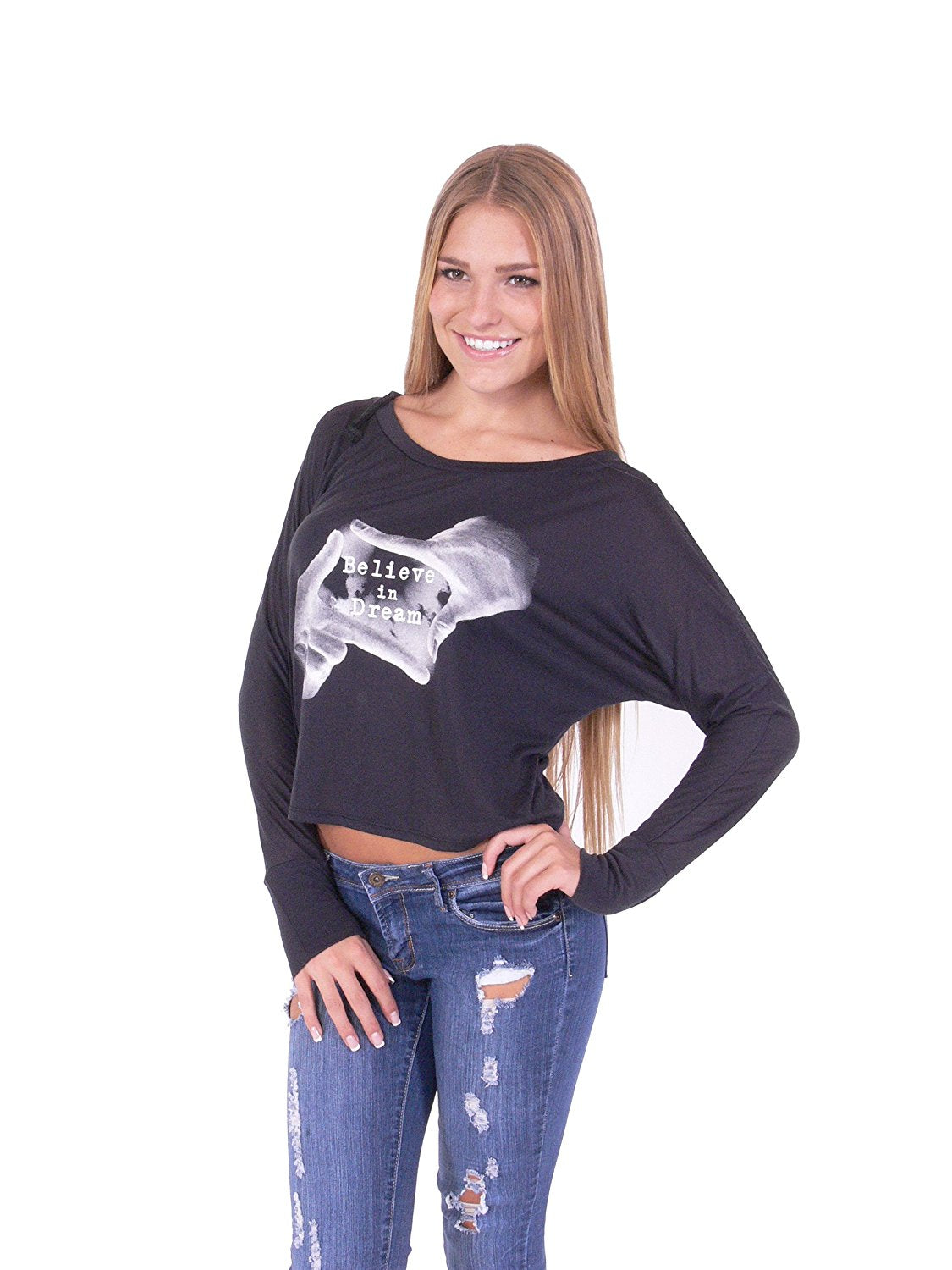 Hollywood Star Fashion Women's Long Bat Sleeves Casual Dolman Print T-Shirt Top