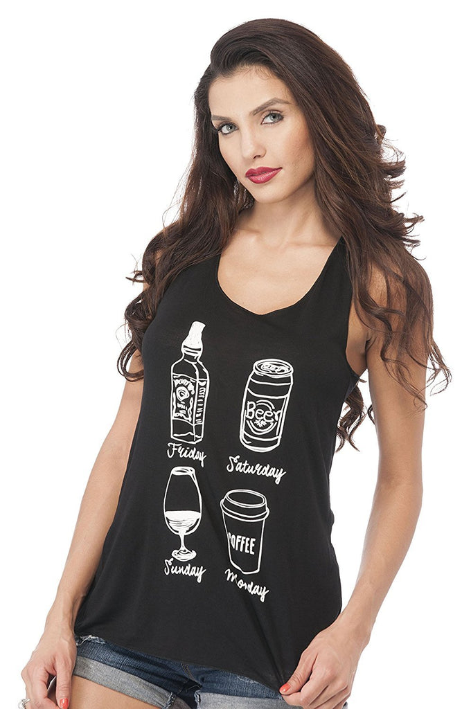 Sleeveless Tank Top Graphic Tees Black Whiskey