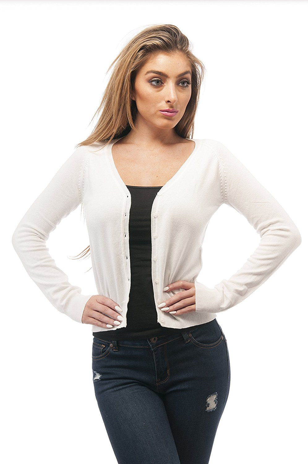 Hollywood Star Fashion Sexy Cardigan Sweater Knit V Neck Long Sleeves