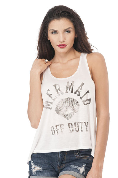 Sleeveless Tank Top Graphic Tees Mermaid Off Duty