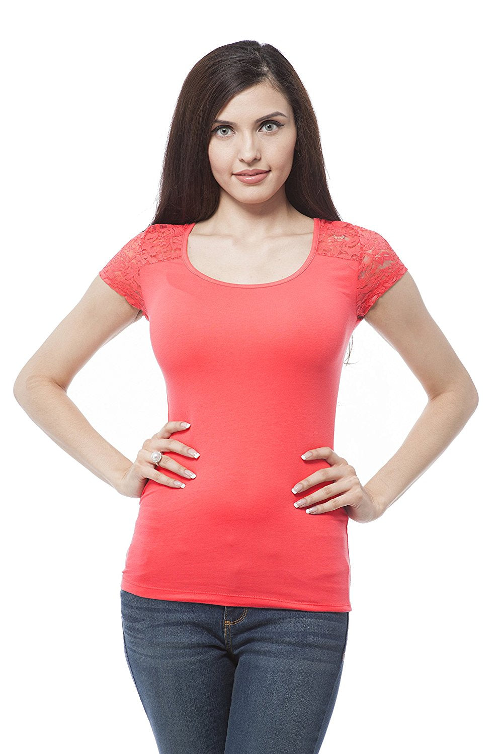 Hollywood Star Fashion Cap Sleeve Top With Lace Contrast On The Back Plus Size