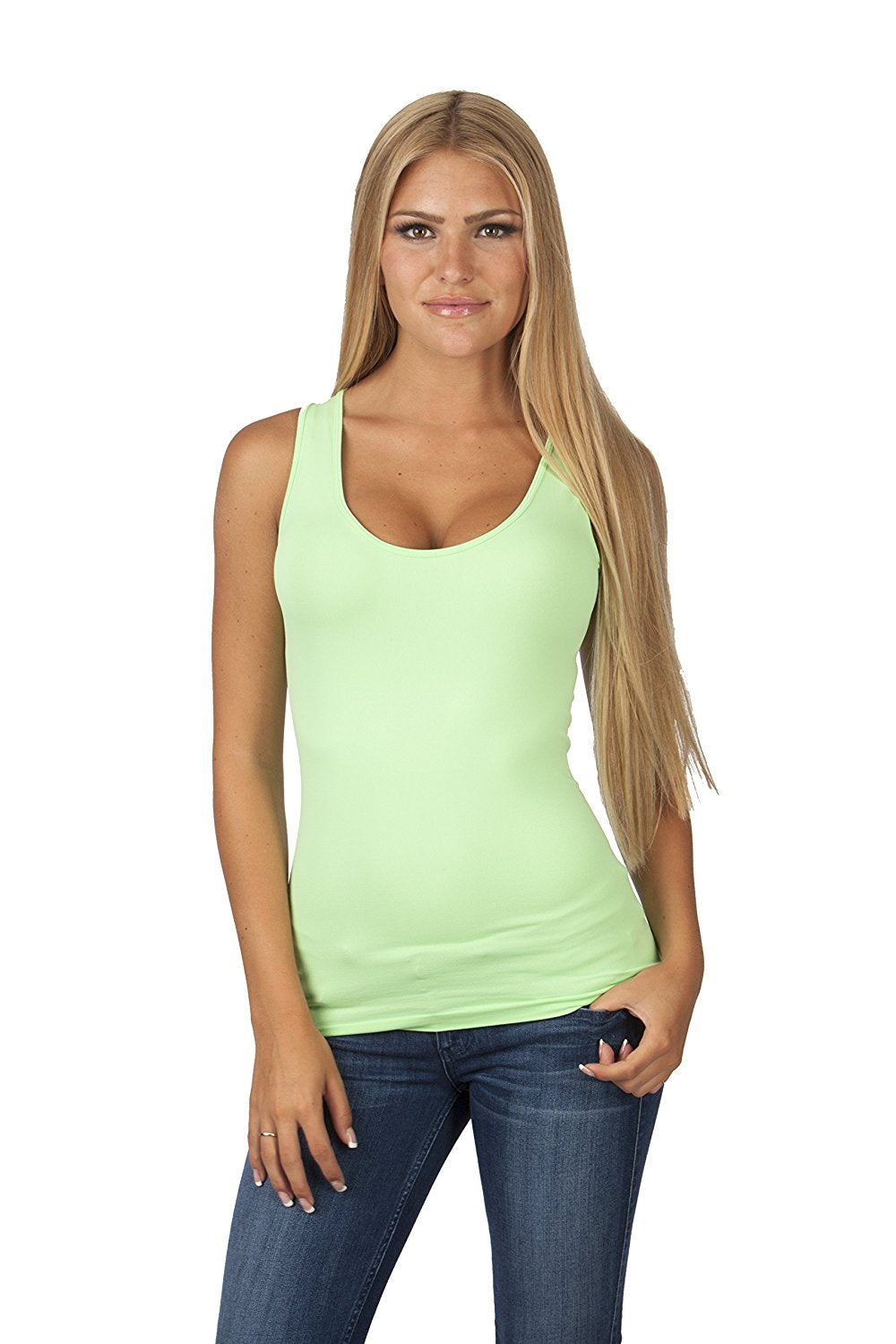Hollywood Star Fashion Women's Long Stretch Tank Top Round Neck Full Back