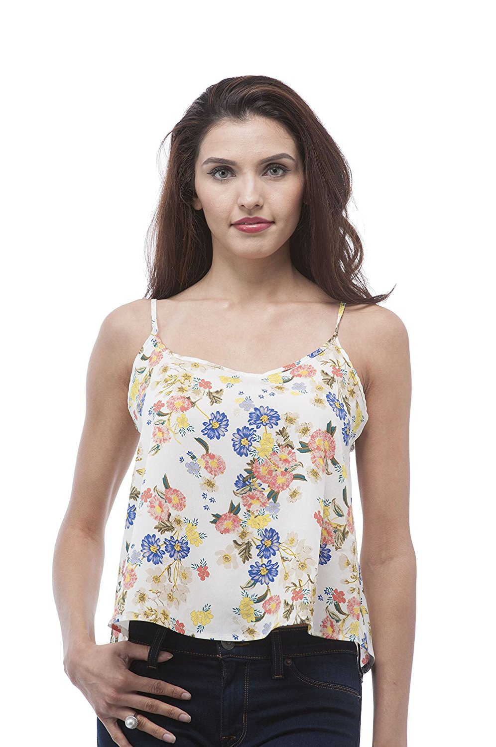 Chiffon Spaghetti strap tank top with open back