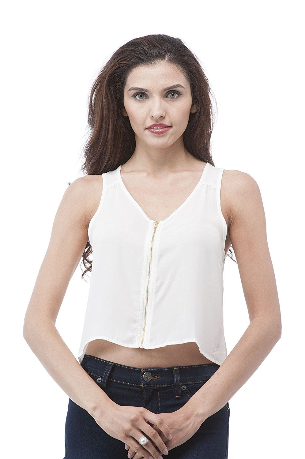 Hollywood Star Fashion Sleeveless Chiffon Crop Top WIT Metal Front Zipper