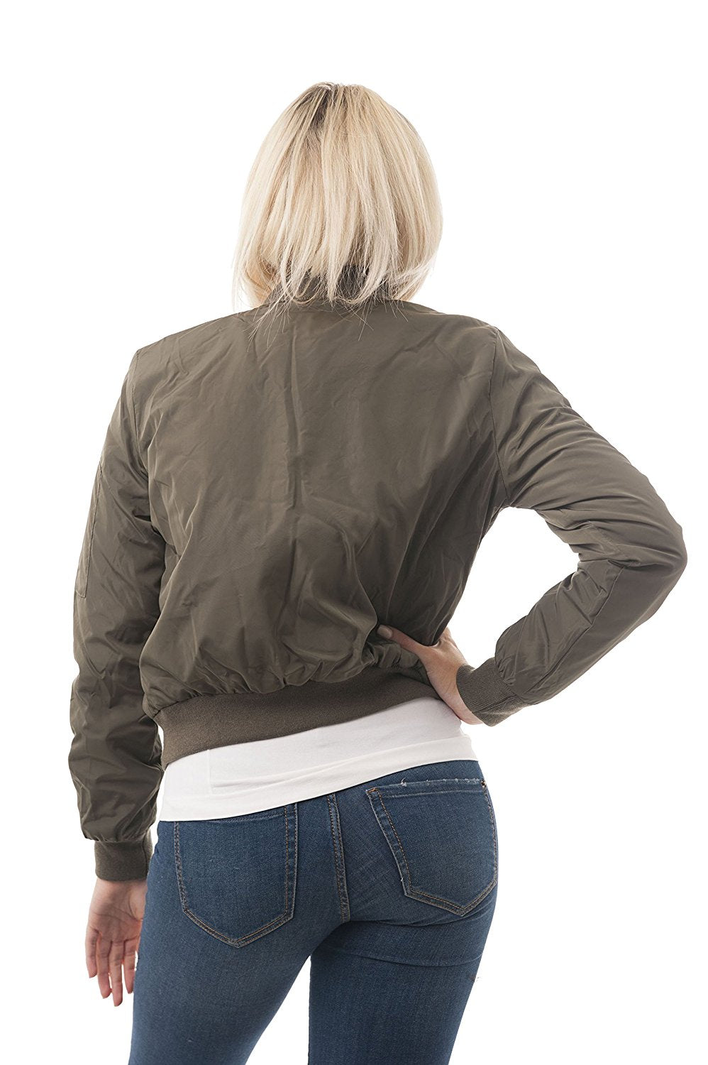 Plain Long Sleeve Flight Bomber Jacket