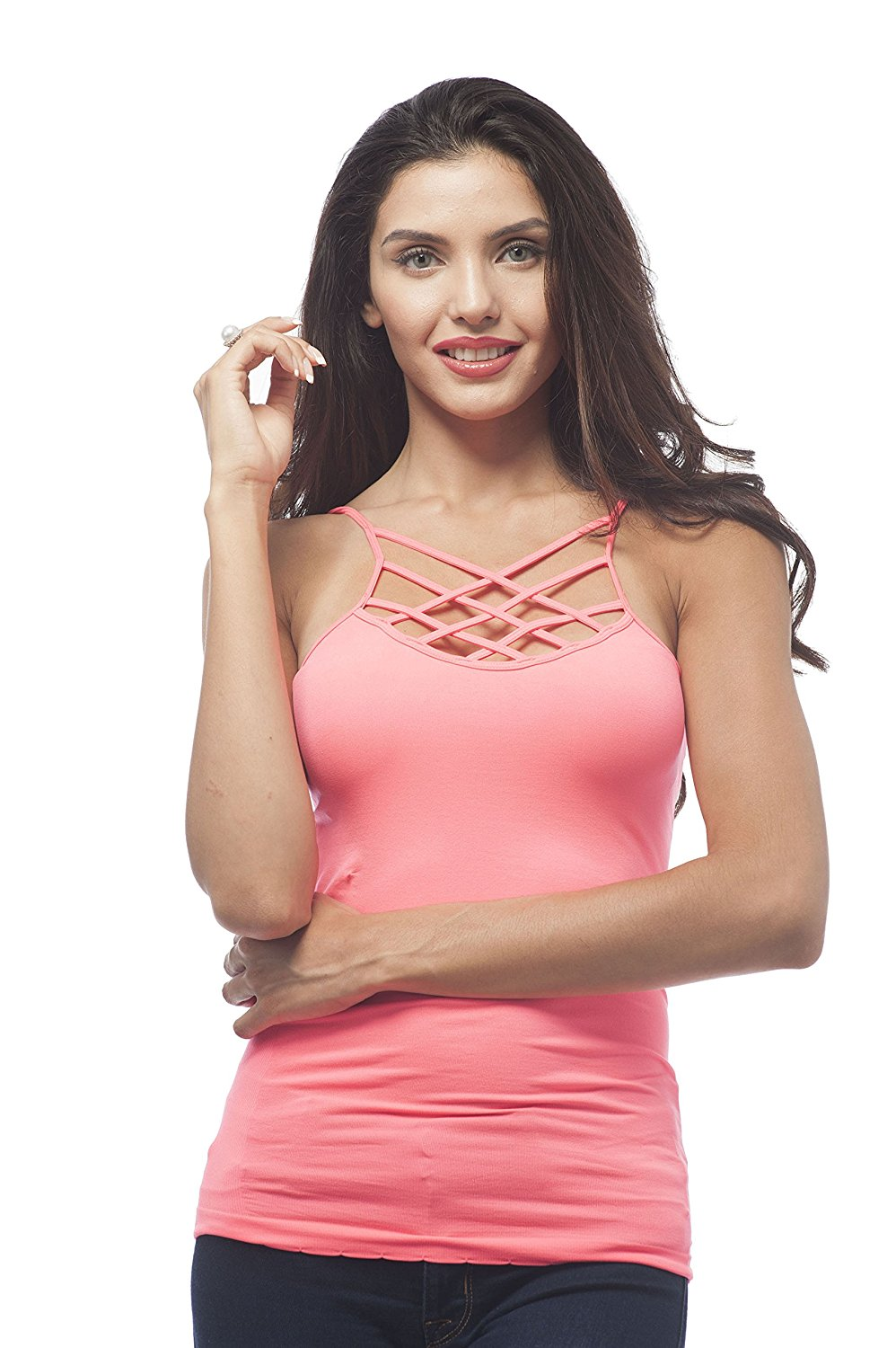 Hollywood Star Fashion Plain Front Strappy Top With Ribbed Sides