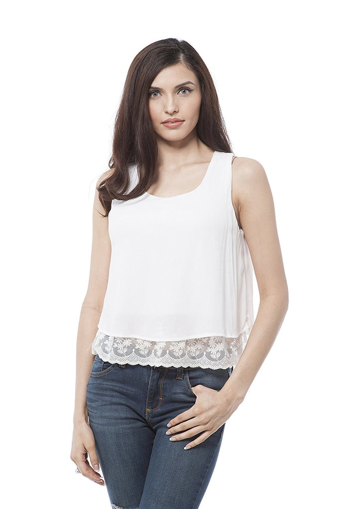Sleeveless top with bottom lace and button on back