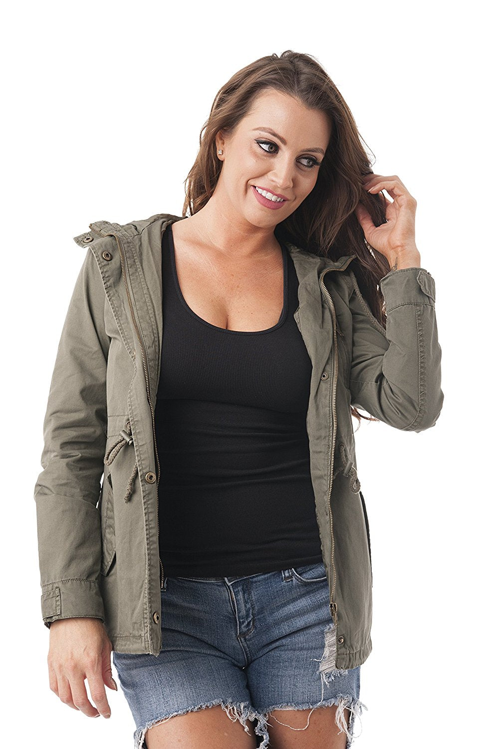 Khanomak Hooded Long Sleeve Utility Military Jacket