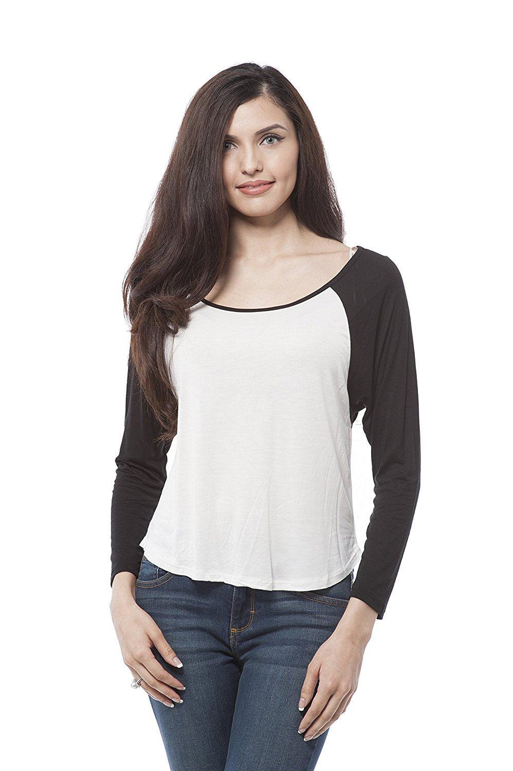long sleeve colorblock raglan top with scoop neck