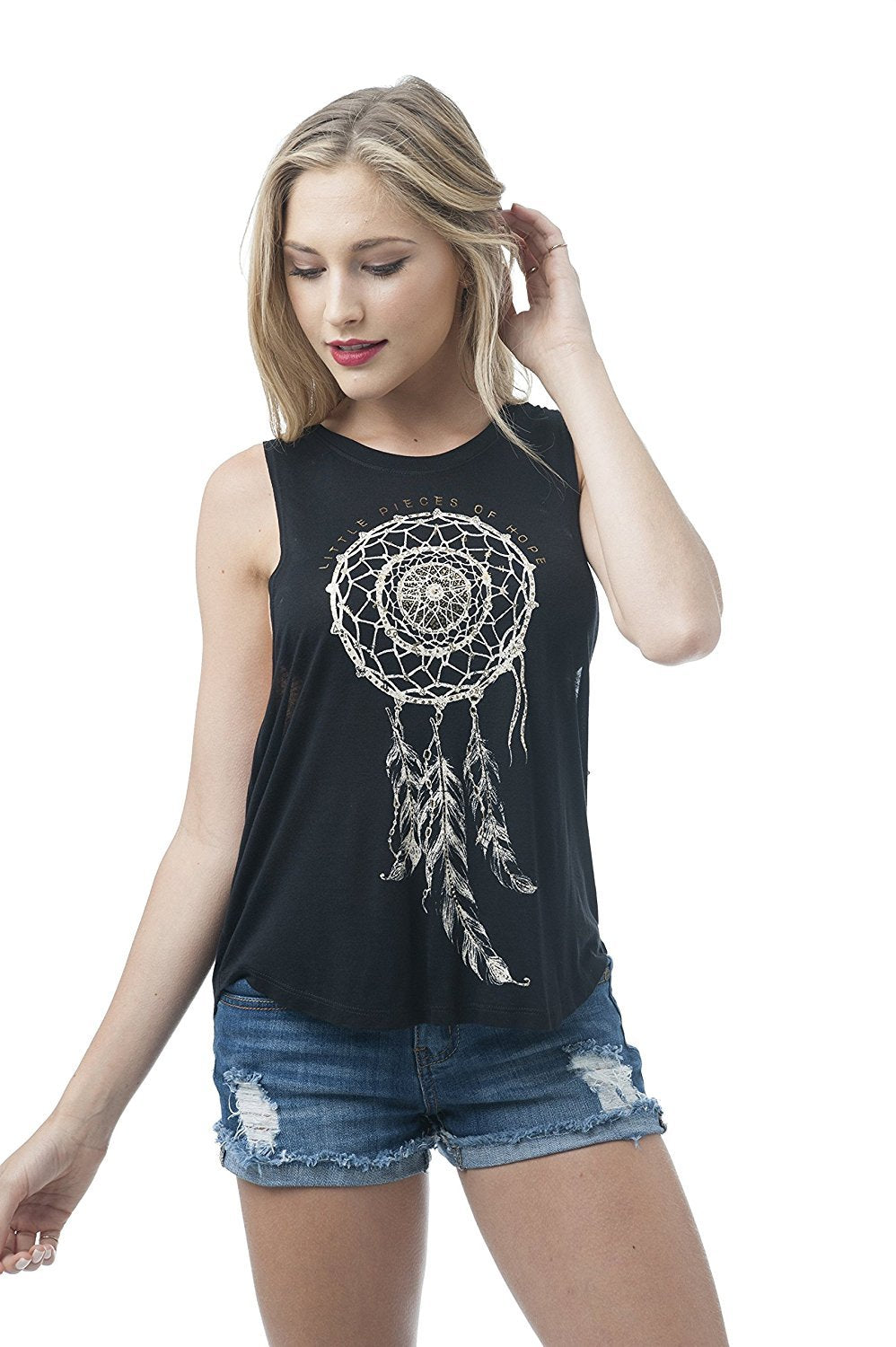 Khanomak Women's Sleeveless Shirt Tank Top Graphic Tees