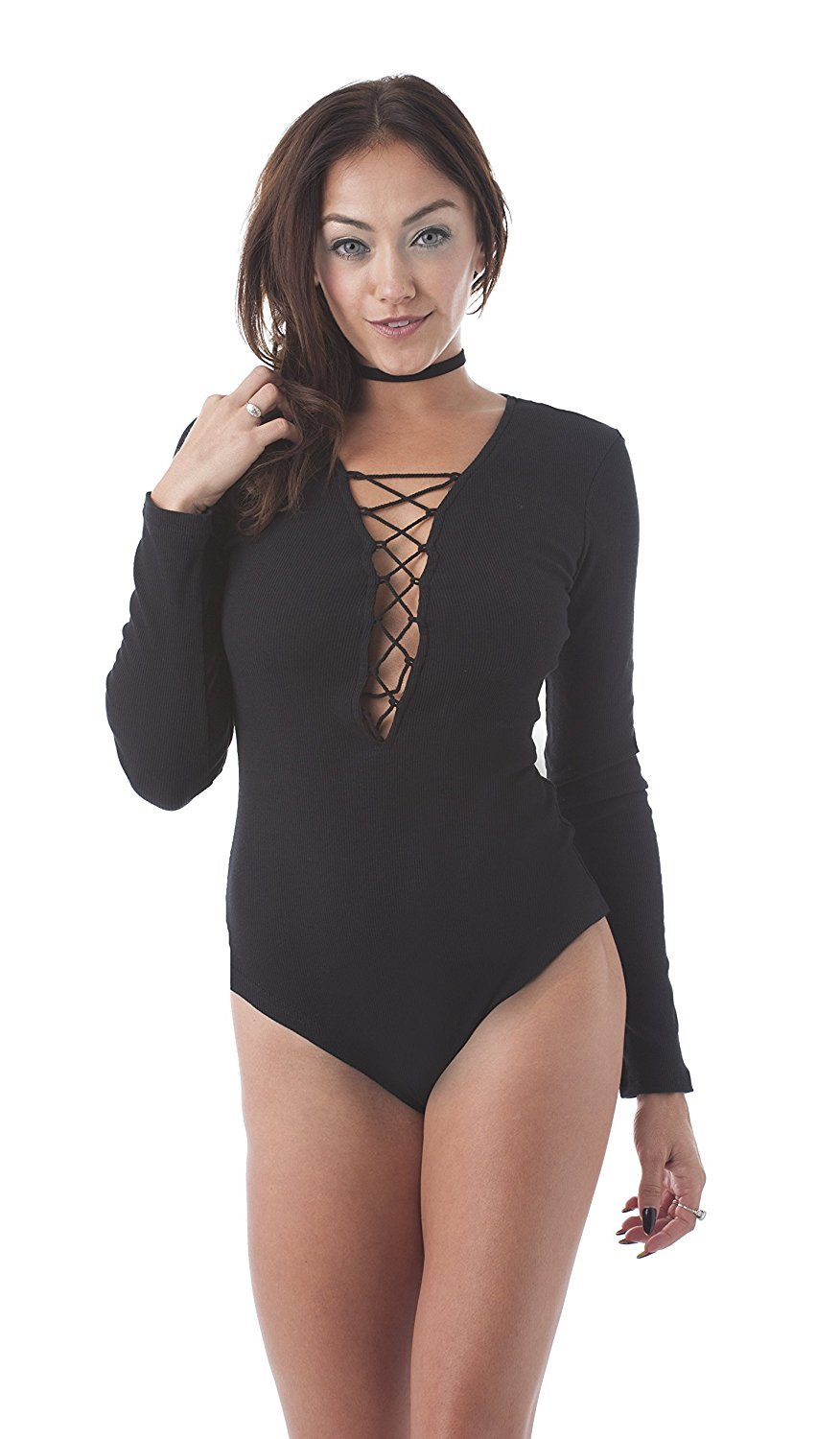 Khanomak Long Sleeve Deep V Neck Strappy Front Bodysuit