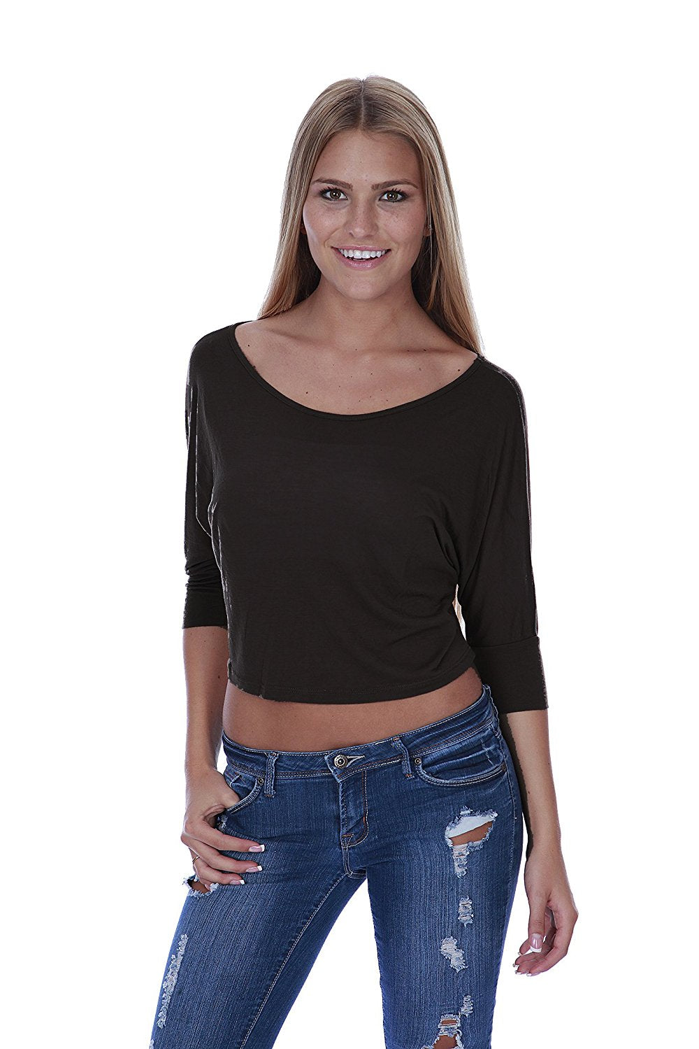 Hollywood Star Fashion Women's 3/4 Sleeves Over Shoulder Batwing Top