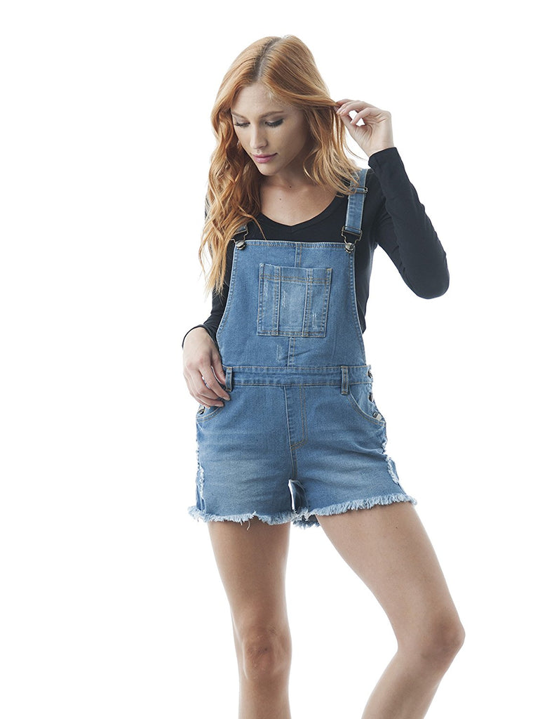 Hollywood Star Fashion Denim Jean Distressed Overall Shorts