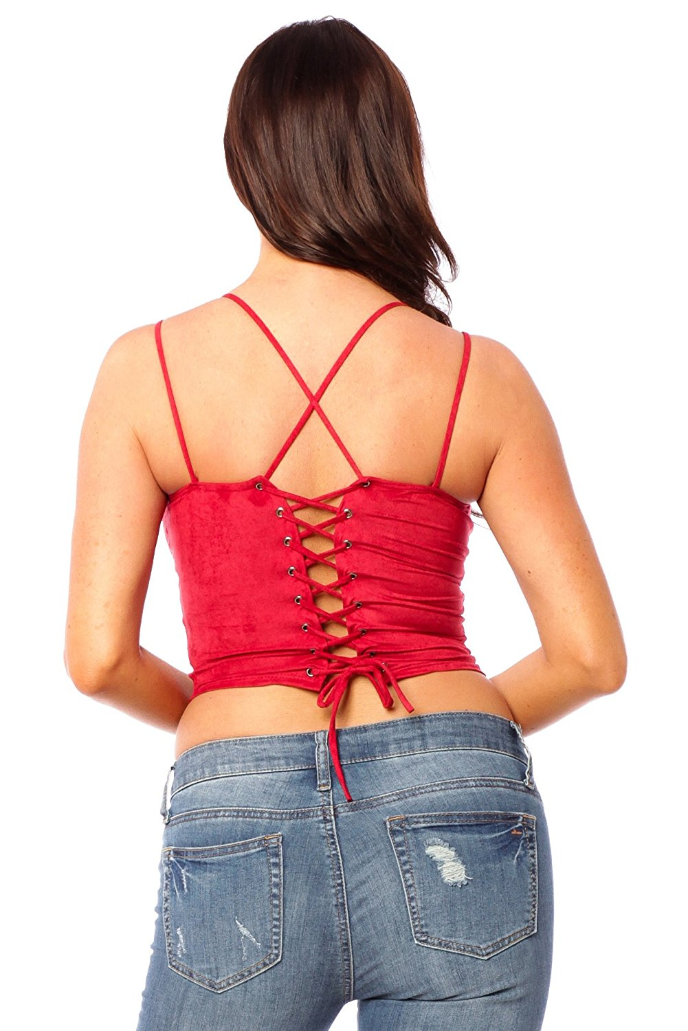 Halter Neck Spaghetti Strap Suede Back Lace Up Crop Top