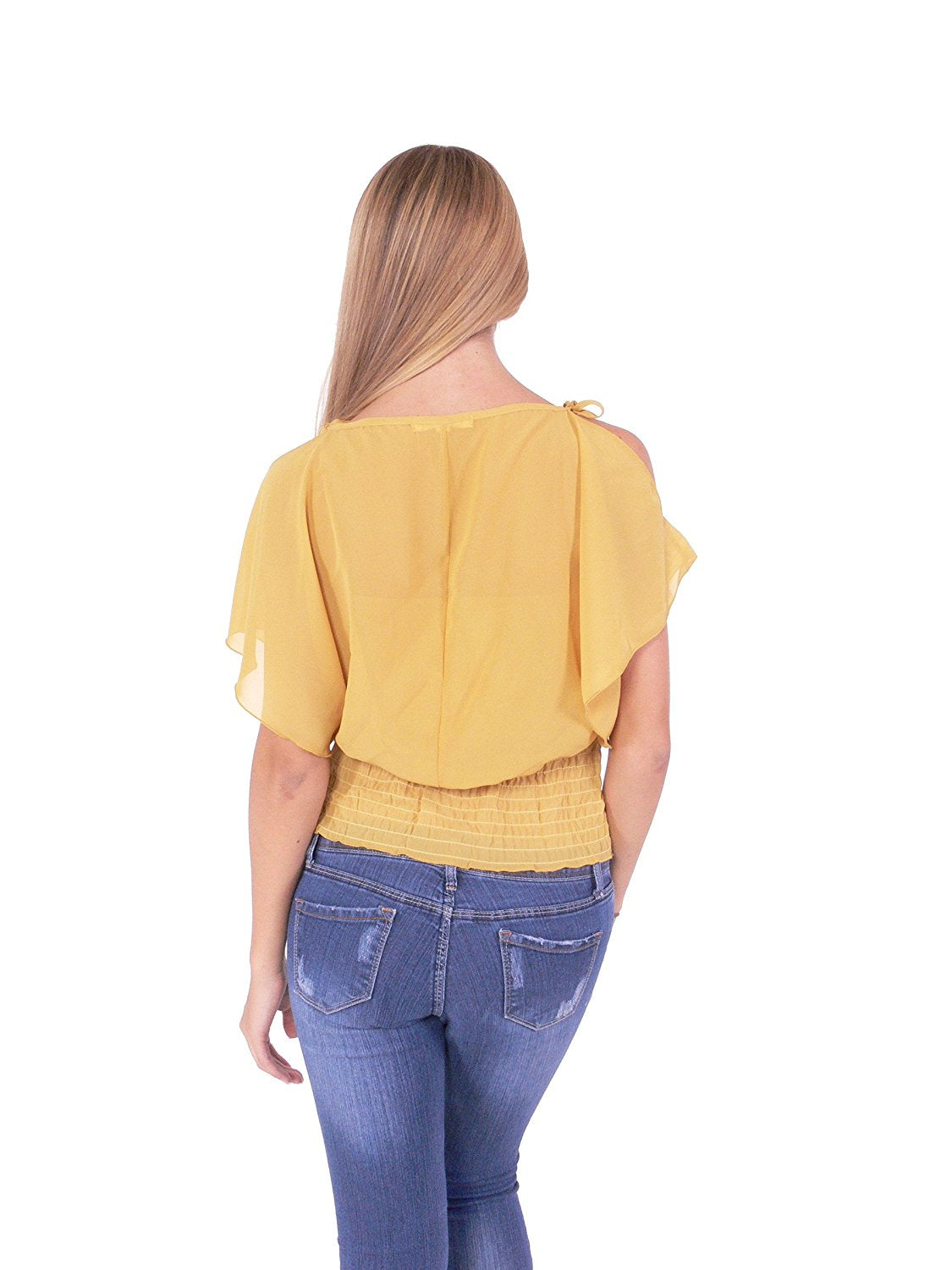 Hollywood Star Fashion Women's Lining Top Elastic Bottom Tied Shoulders Blouse