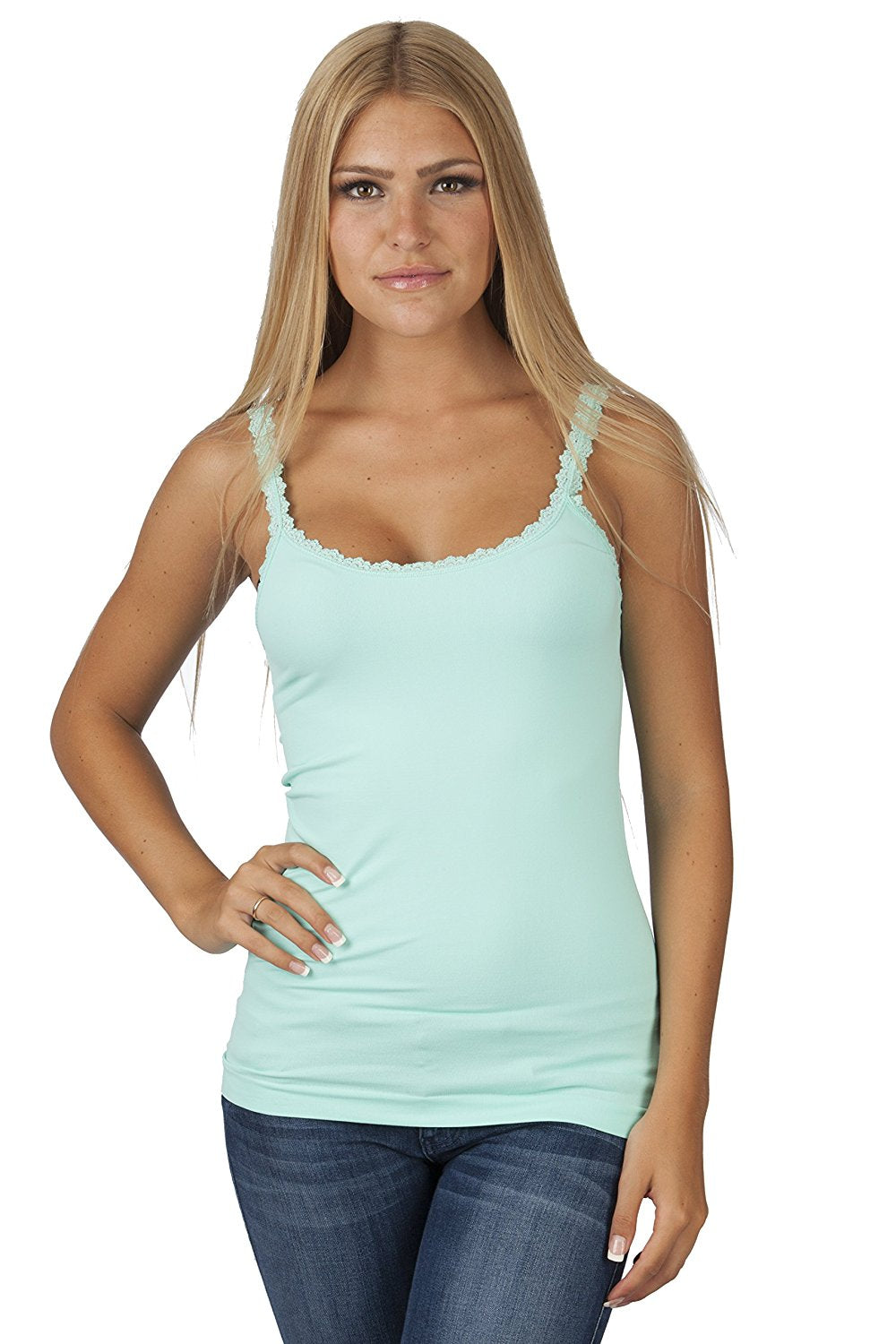 Plain Lace Trim Spaghetti Strap Tank Top