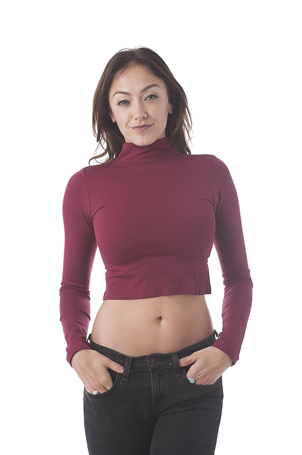 Khanomak Long Sleeve Mock Neck One Size Crop Top