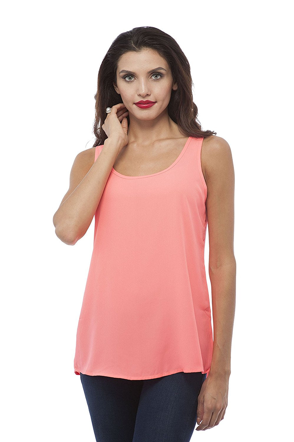 Hollywood Star Fashion Sleeveless Double Scoop Neck Chiffon Top