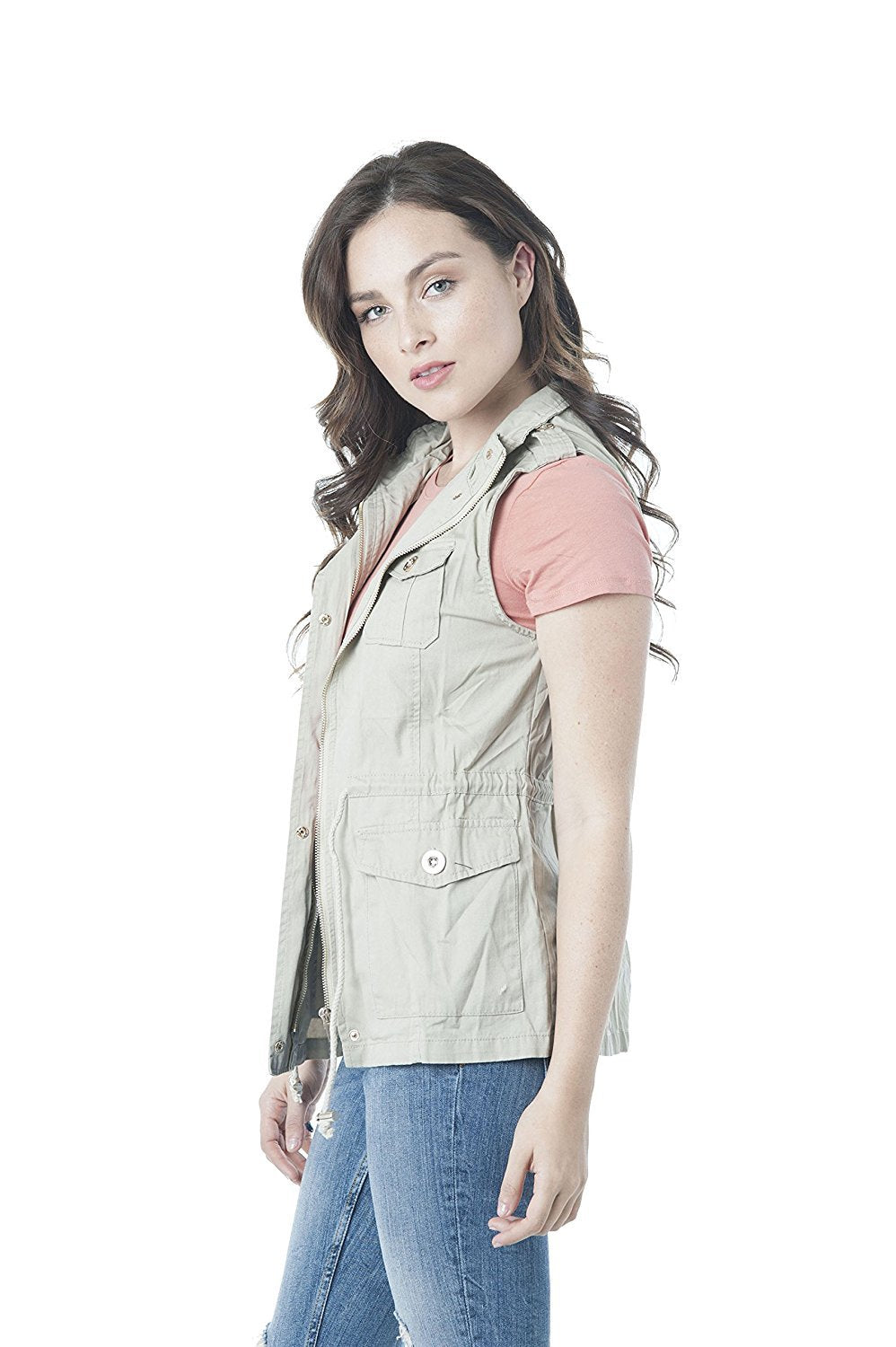 Khanomak Womens Sleeveless Zip Up Jacket Lightweight Sleeveless Military Anorak Vest
