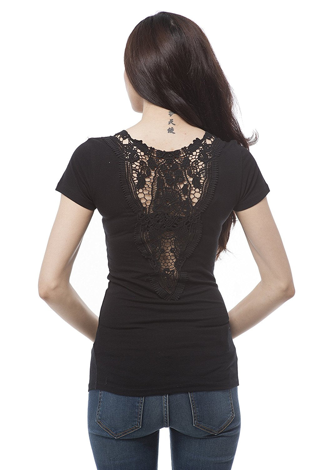 Hollywood Star Fashion Short Sleeve v Neck Crochet Back Detail Top