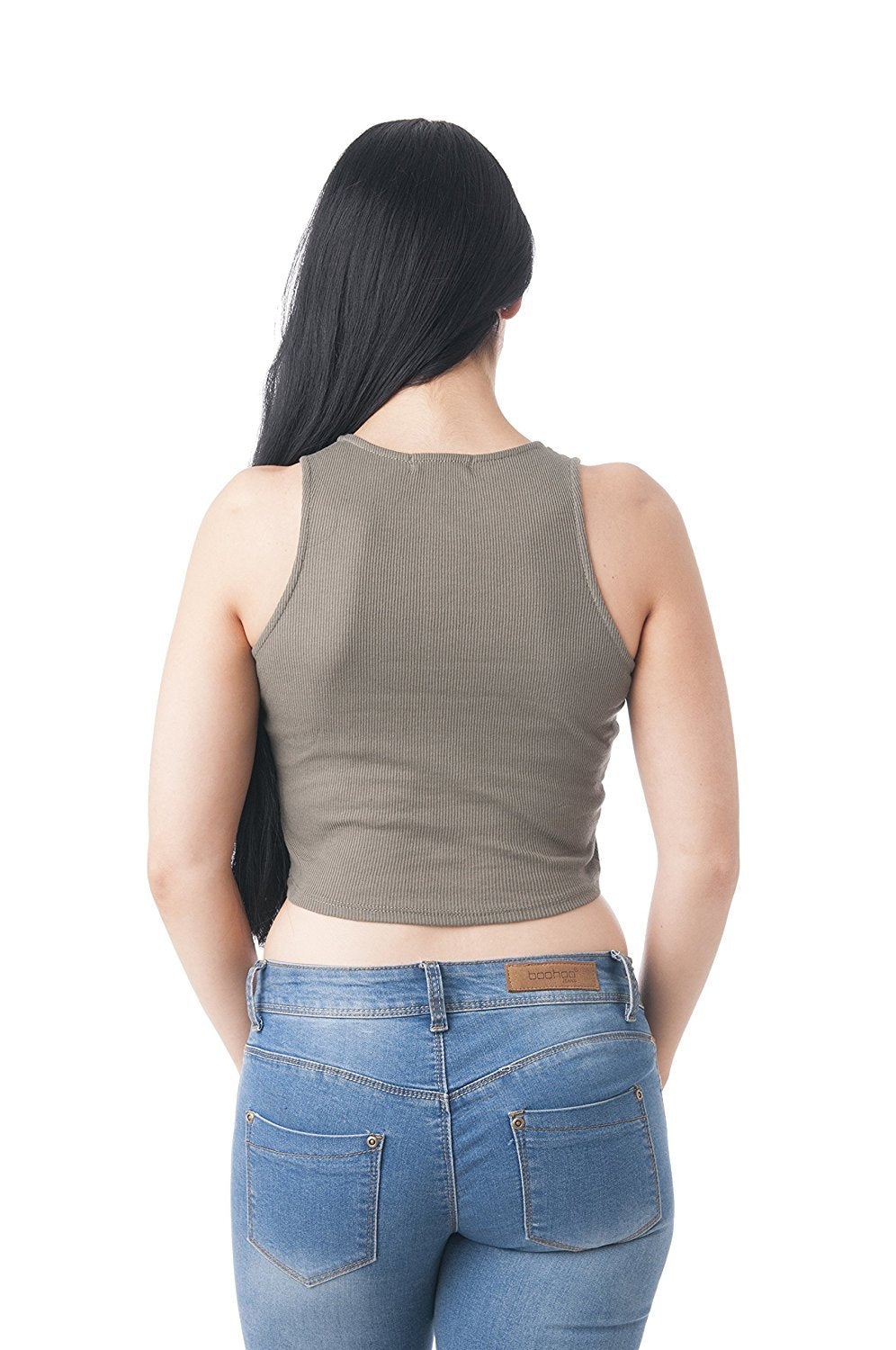 Khanomak Sleeveless Crewneck Ribbed Front Knott Crop Top