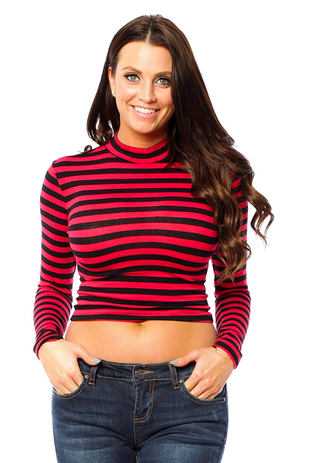 Hollywood Star Fashion Long Sleeve Mock Neck Crop Top