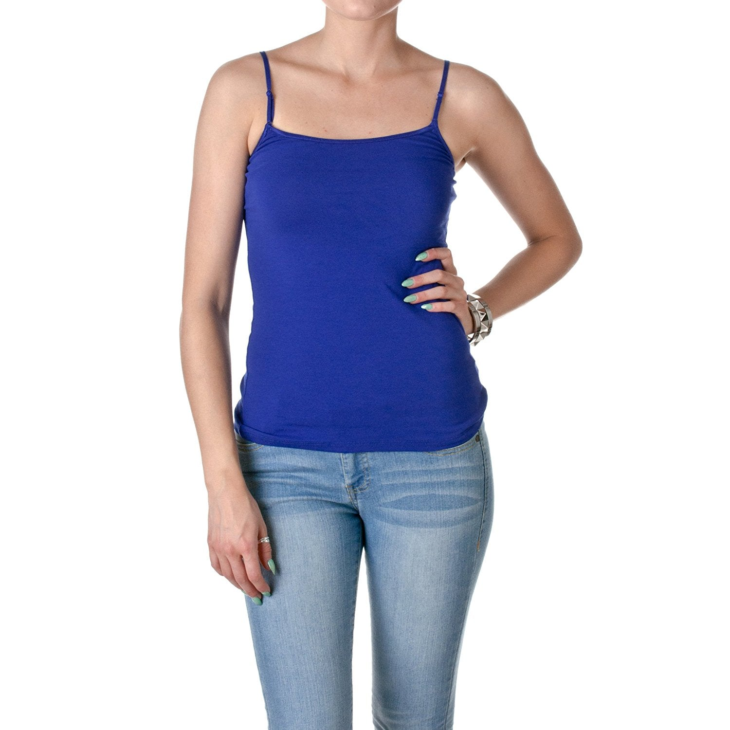 Hollywood Star Fashion Casual Basic Women's Semi-Crop Camisole Cami Tank Top With Adjustable Straps